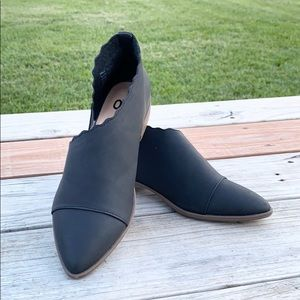 SO Women Black Pointed Toe Open Side Flat Shoes
